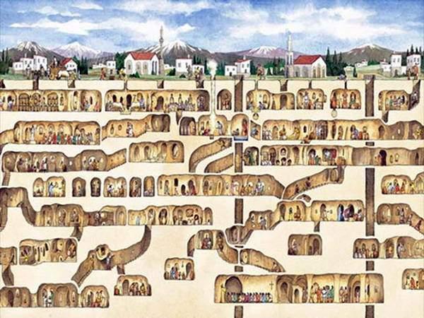 An illustration of an underground city like Derinkuyu
