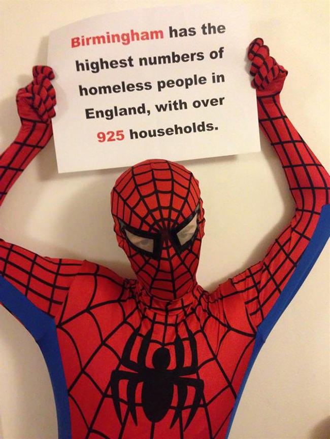 Spiderman feeds homeless