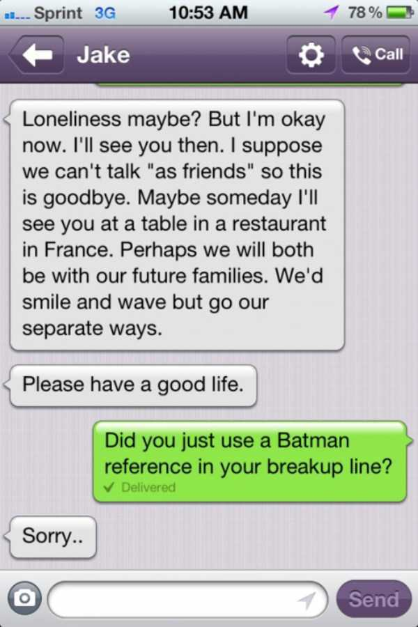 Breaking up like batman