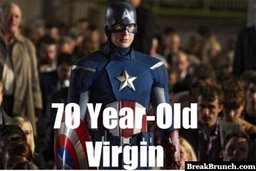 Captain America is 70 years old virgin