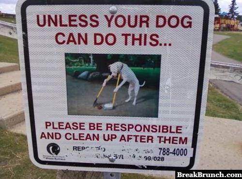Please clean up after your dog's mess