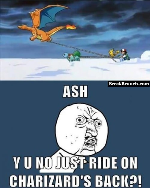Ash y u no ride on Charizard's back