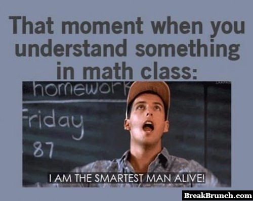That moment when you understand something in math class