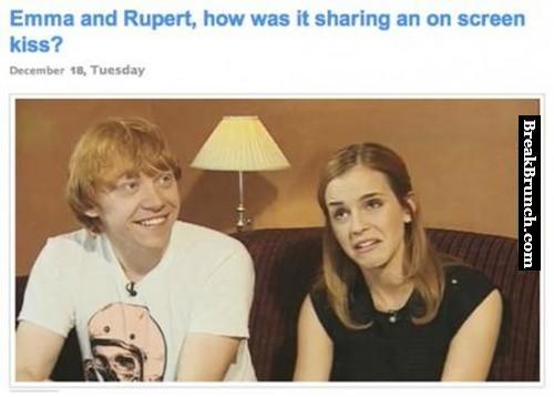 Rupert Grint on Kissing Emma Watson