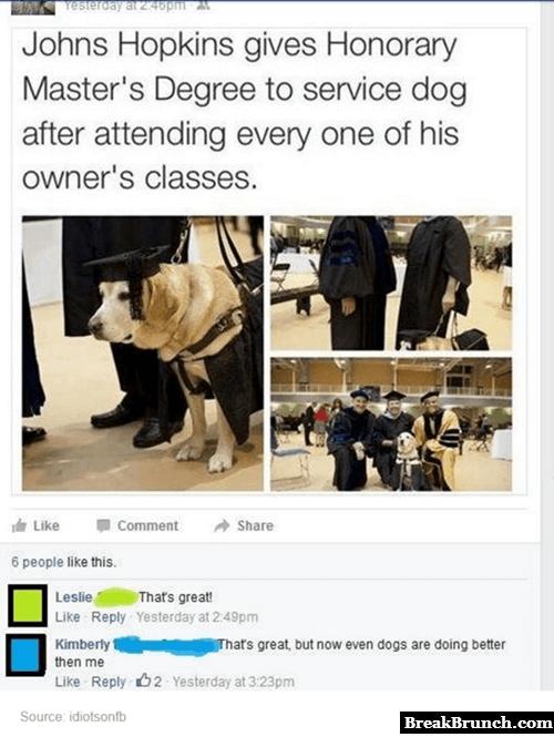 Johns Hopkins gives Honorary Master's Degree to a service dog
