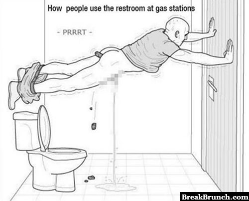 How people use restroom in gas stations