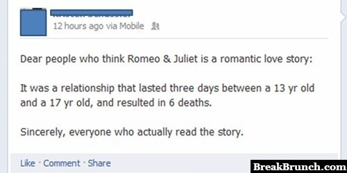 Romeo and Juliet is not romantic