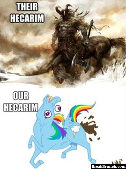 Enemy Hecarim vs Hecarim on my team – League of Legends