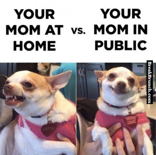 Mom at home vs mom in public