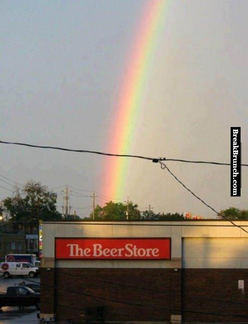 The end of the rainbow is at a beer store