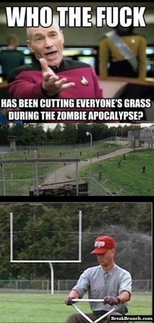 Who is cutting grass during zombie apocalypse
