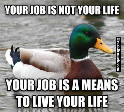 Your job is a means to live your life