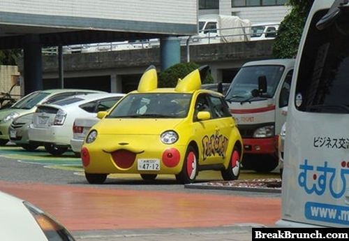 Who want to ride in this pikachu car