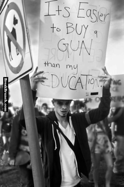 It is easier to buy guns than education