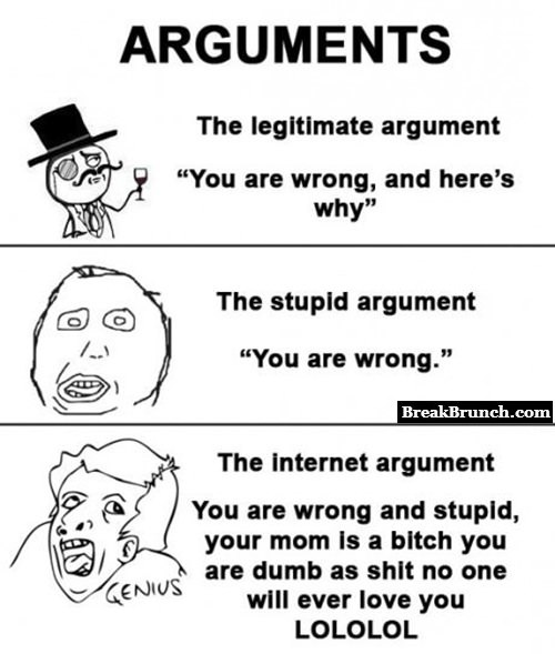 How people argue on the internet