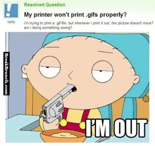 My printer won't print gifs properly