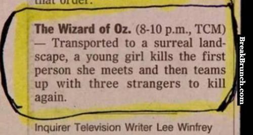 Weird review of the Wizard of OZ