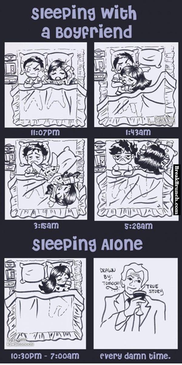 Sleeping with boyfriend vs sleeping alone