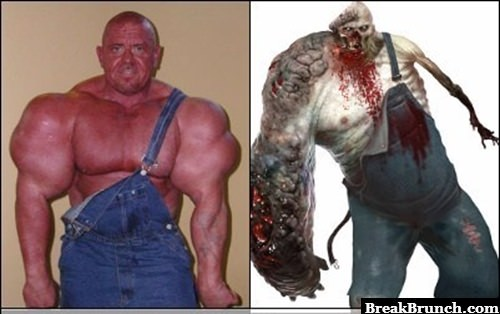 Ugly bodybuilder totally looks like the character from Left For Dead