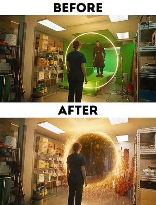 Amazing before and after photos of movie scenes with special effects (30 photos)