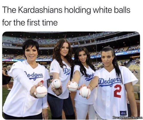 Kardashians holding white balls