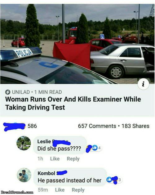 Woman runs over and kills examiner