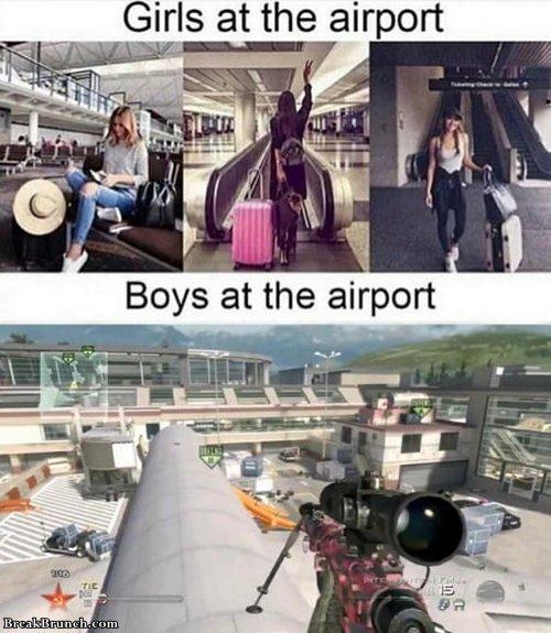 Girls vs boys at airport