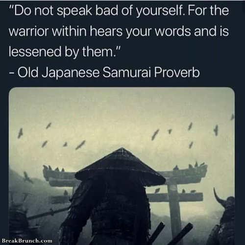 Wise words from old Japanese samurai proverb