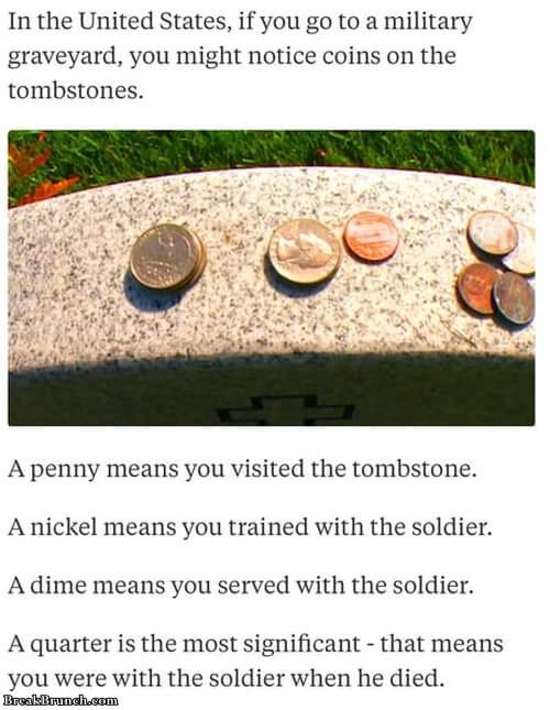 What do coins on tombstones mean