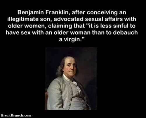 Benjamin Franklin advocated sexual affairs with older women