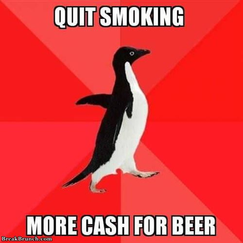 Quit smoking for more beers