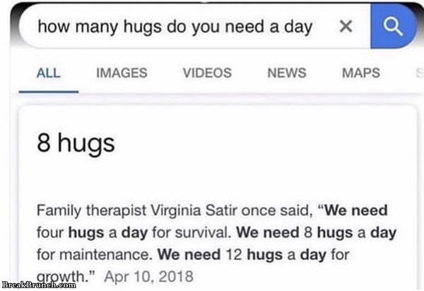 How many hugs you need a day