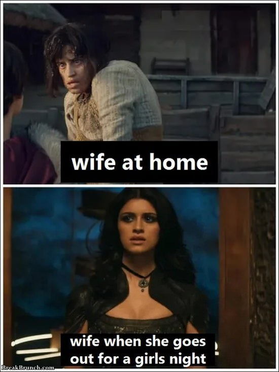 Wife at home vs going out