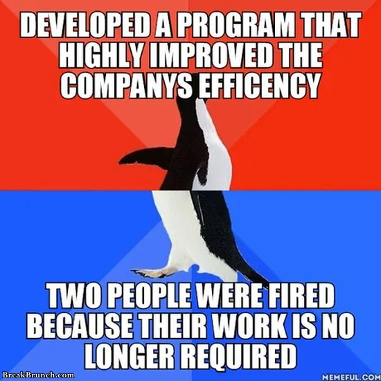 Developed a program and got 2 people fired