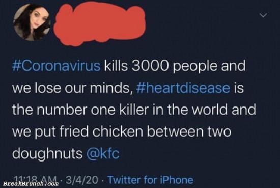 Corona virus is not as bad as heart disease