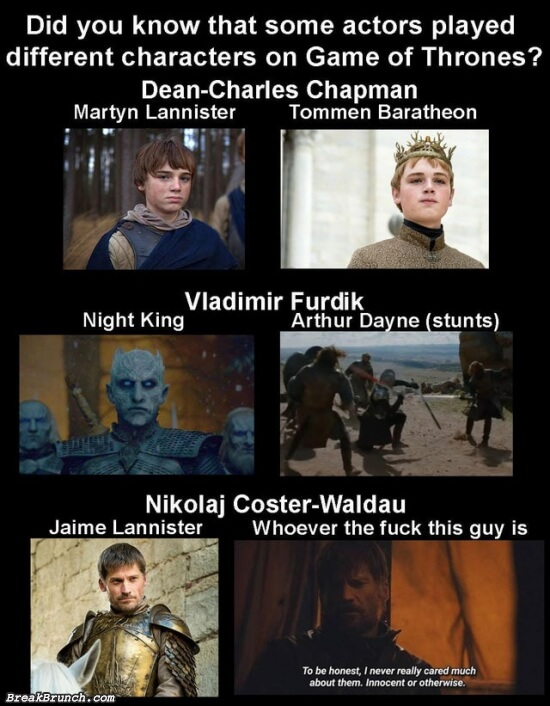 Some actors played different characters on Game of Thrones