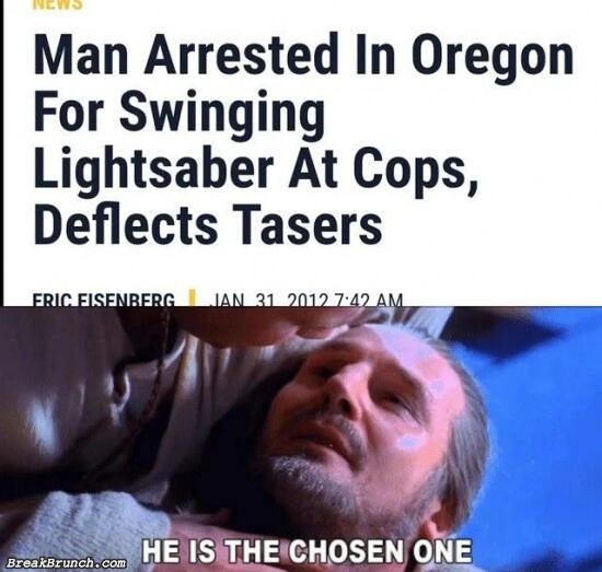 Man arrested for swinging lightsaber at cop