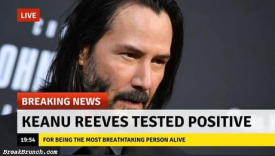 Keanu Reeves tested positive for most breathtaking person