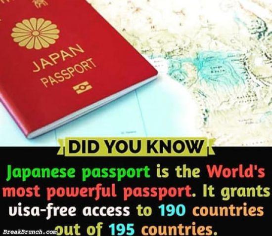 Japanese passport is the world's most powerful passport