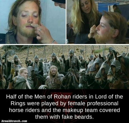 Did you know half of the Men of Rohan riders were played by female