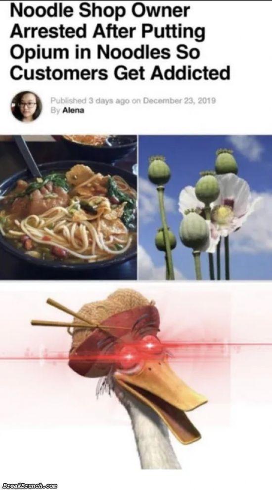 Noodle shop owner arrested after putting opium in noodles