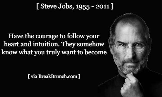 Have the courage to follow your heart and intuition – Steve Jobs