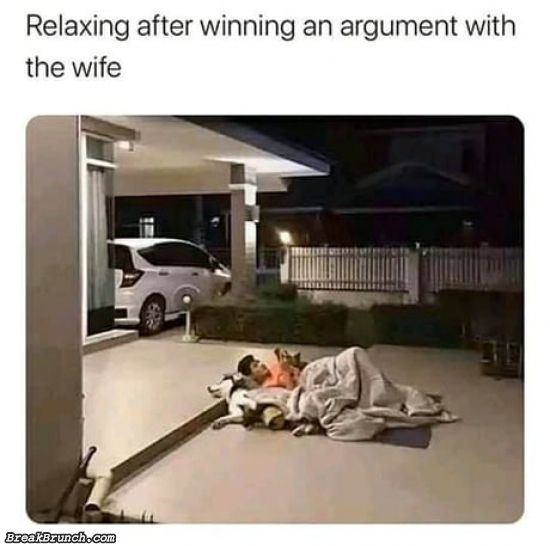 After winning an argument with wife