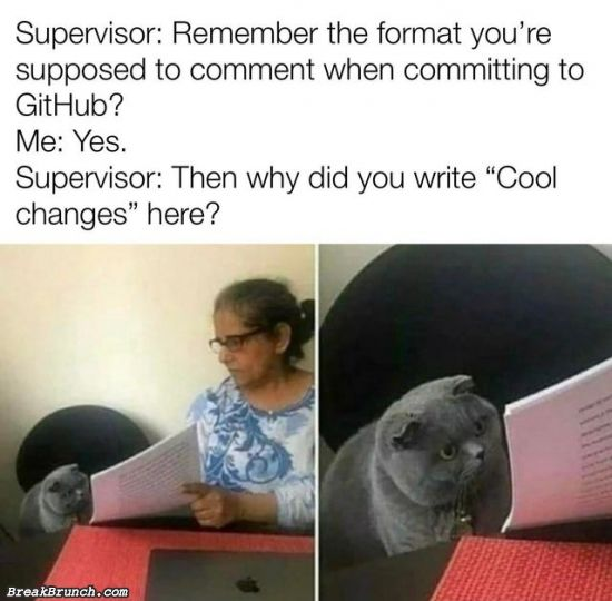 Comment when committing to GitHub