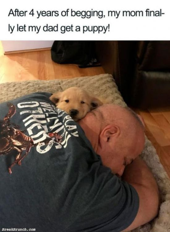 My dad and his puppy