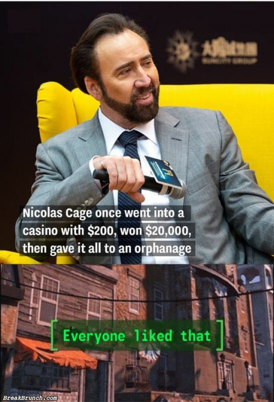 Nicolas Cage gave his casino winning to orphanage