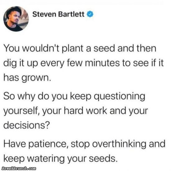 Have patience, stopping overthinking and keep water your seeds