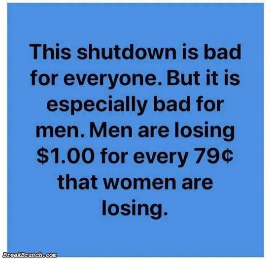 The shutdown is bad for men