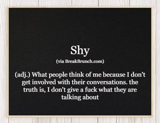 Hilarious Honest Dictionary – Shy