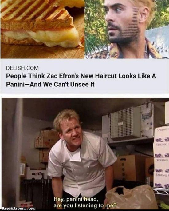 Zac Efron's haircut looks like a panini